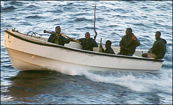 Somali pirates in a boat